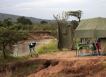 Tag 1 Anreise - Mara River Hippo Camp- Kenia Zelt am Mara River